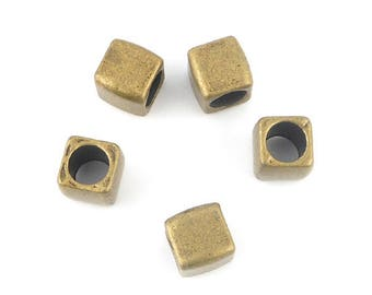 metal cube beads 10 x bronze 6x6mm (78)