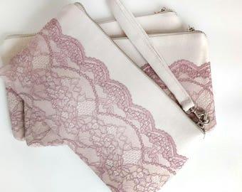Bridesmaid Gift Set Wedding clutch  Clutch purse Evening purse Braidsmaide wristlet Wedding purse Bride clutch bag