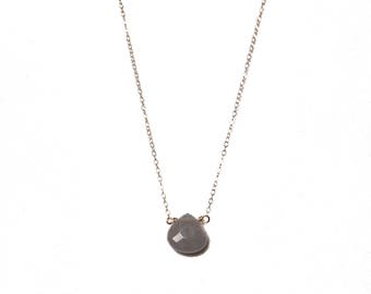 "small labradorite CHRISTINE NECKLACE with  gold filled chain* 16-18"" dainty necklace with teardrop"