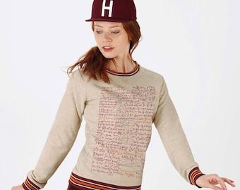 Organic Fairtrade cotton women Sweatshirt Beige China borders neckline Burgundy and orange - print formulas math