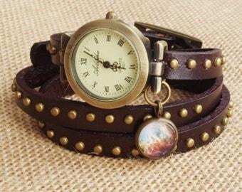 Sale Wrap Watch Bracelet Watch Wrist Watch Woman watch Vintage Watch Bracelet dark brown watch Girld gift Anniversary gift  Galaxy watchfrie