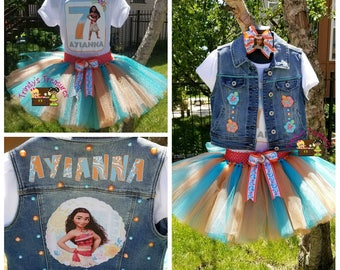 Moana Tutu, Moana Birthday Outfit, Moana Party, Moana Shirt, Moana Vest, Moana Birthday Shirt, Denim Vest, Birthday Vest