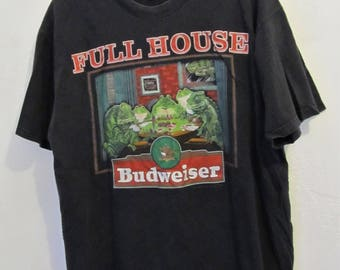 A GRUNGED Vintage 90's Black Short Sleeve BUDWEISER Frog POKER t shirt By Hanes.L