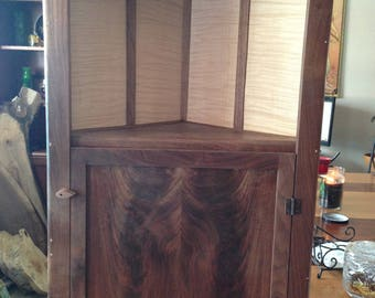 walnut hanging corner cabinet