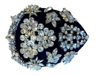 Black and CrystalFloral Hair Fascinator