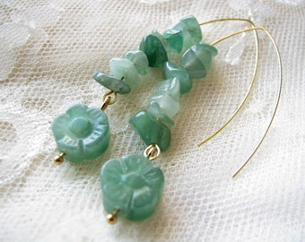 Jade earrings Flower earrings Long earrings Dangle earrings Woman Gift for her Handmade earrings Green earrings Bohemian earrings Xmas gift