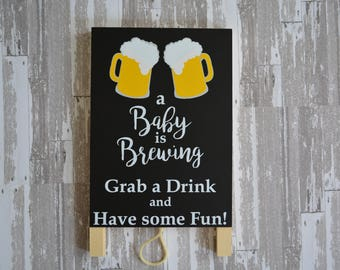 A Baby is Brewing Drink Table Sign