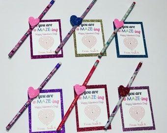 Valentines Kids Gift- Valentines Favors- Pencil Valentines Favors