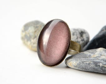 Bronze glass Cabochon ring