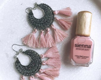 Pink and silver tassle boho earrings