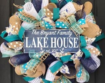 Nautical decor - lake house decor - lake house wreath - nautical wreath - custom gift - housewarming gift - personalized gift - lake house -