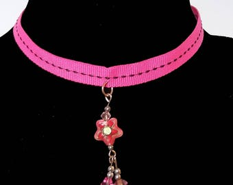 Pink Ribbon Choker With Cloisonne Beaded Dangle