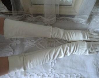 Fantastic XXL long ladies gloves genuine leather White Vintage french boudoir shabby chic