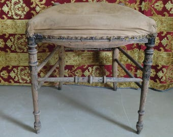 French raw shabby stool authentic old patina