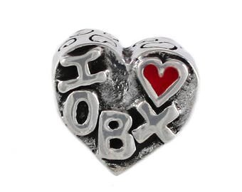 I Heart OBX/Outer Banks w/Flip Flop Large Hole Silver Bead  -Compatible with ALL Popular Bracelet Brands - Made in USA! - Item #20793