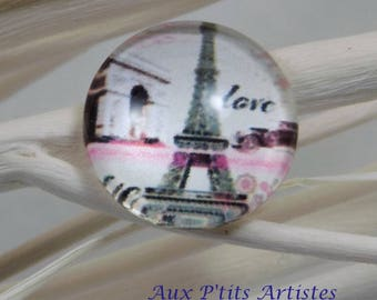 illustrated 15 mm glass cabochon
