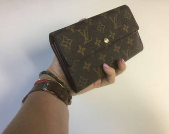 Authentic LOUIS VUITTON Vintage Clutch wallet organizer 1997 monogram Sarah leather/canvas bag NICE