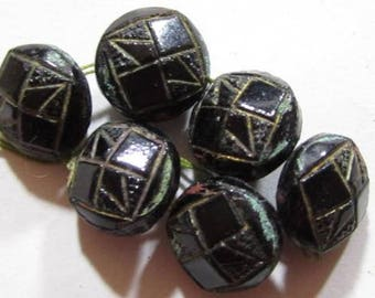 Great Lot Of 6 Tiny 8Mm Domed Vintage Antique Black Molded Glass Buttons*S596