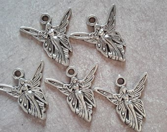 5 pcs, fairy, fairy wings Elf Princess woman character charm romantic dress - silver - 20 x 19.5 mm