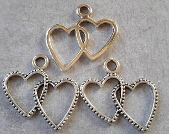 5 pcs hearts charms, pendants, hearts, love heart - silver - 24 x 22 mm