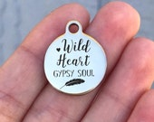Gypsy Stainless Steel Charm - Wild Heart Gypsy Soul - Laser Engraved - Silver Circle - 19mm x 22mm - Quantity Options - F4L564