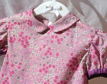 Pink liberty shirt 18 months puffed sleeves and Peter Pan collar