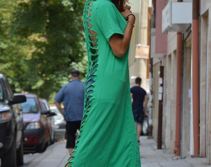Extravagant Green Dress, Plus Size Kaftan, Maxi Summer Dress, Sexy Open Back Dress by SSDfashion