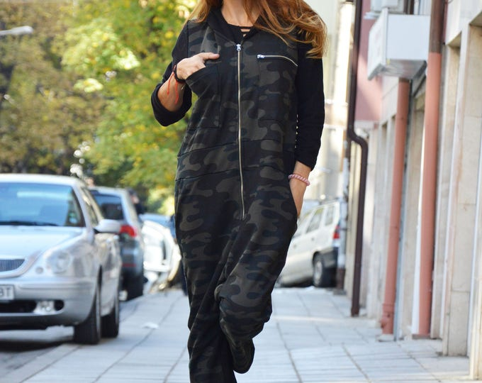 Women's Military Jumpsuit With Black Hooded, Plus Size Maxi Drop Crotch, Zipper Casual Jumpsuit by SSDfashion
