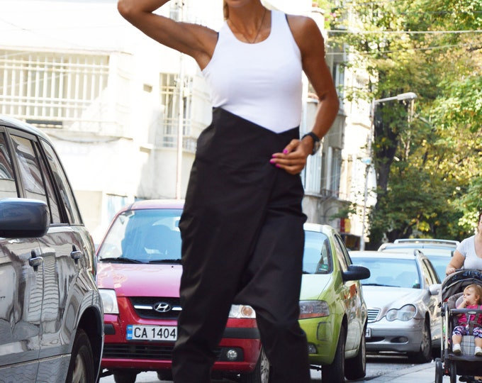 Black Cotton High Waist Pants, Drop Crotch Harem Pants, Extravagant Pant, Casual Trousers by SSDfashion
