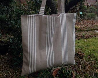 Bag tote bag striped beige white