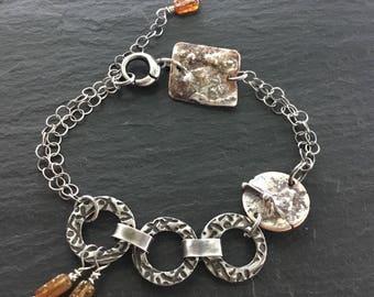 Citrine Bracelet /  Handmade Silver Bracelet / Dainty Chain Bracelet / Sterling Silver / Brandy Citrine Jewelry