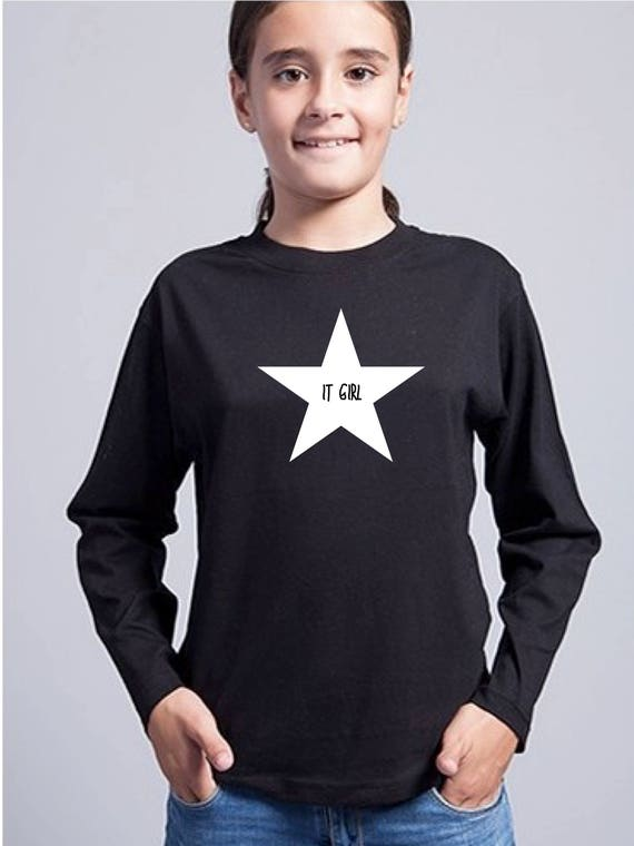 Round neck girl t-shirt IT GIRL in a STAR