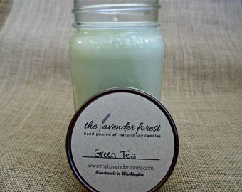 green tea // hand-poured 16oz mason jar soy candle // natural soy wax // highly scented // rustic