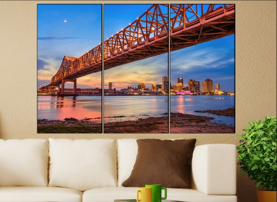 New Orleans Skyline  print  on canvas wall art Downtown New Orleans and the Missisippi photo art work framed art artwork