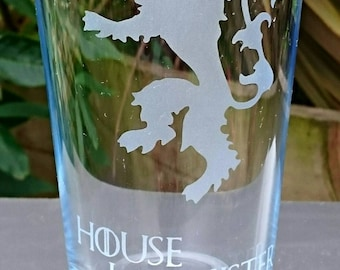 Game of Thrones House Lannister Engraved Pint Glass