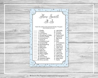 Blue and Silver Baby Shower How Sweet It Is Game - Printable Baby Shower How Sweet It Is Game - Blue and Silver Confetti Baby Shower - SP151