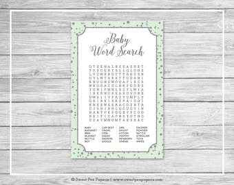 Mint and Silver Baby Shower Baby Word Search Game - Printable Baby Shower Baby Word Search Game - Mint and Silver Baby Shower - SP152