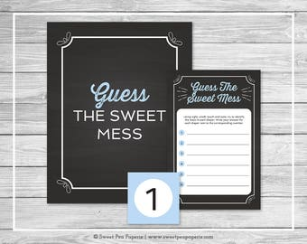 Chalkboard Baby Shower Guess The Mess Game - Printable Baby Shower Guess The Sweet Mess Game - Blue Chalkboard Baby Shower - Game - SP156