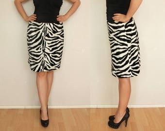 Vintage skirt, zebra print skirt, black and white L XL