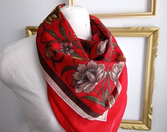 Retro red floral scarf, vintage scarf, vintage scarf with flowers and paisley