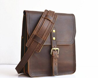 CLEARANCE SALE Vertical Leather Satchel Small Leather Messenger Bag Leather Ipad Bag Leather Shoulder Bag Leather Cross Body Bag Mens Womens