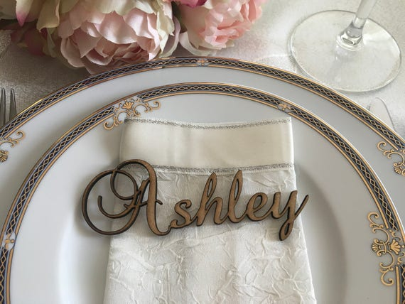 Laser cut names for weddings Custom wood word Place name settings Personalized place cards Modern calligraphy Elegant fonts Reception table