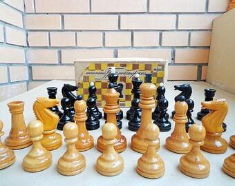 Vintage soviet tournament chess pieces set, big wooden russian grandmaster chessmen USSR