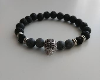 Silver and black pave charm and geometric black Onyx with matte Labradorite diffuser bracelet 8mm