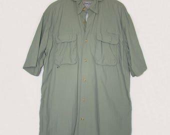 Men's Quick Dry Vented Sport Shirt BIMINI BAY Shirt Golf Fishing Sailing Kayaking Boating Quick Dry Shirt Olive Green Short Sleeve Shirt