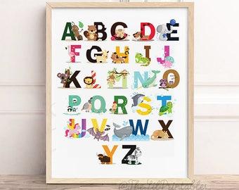 Animal Alphabet Printable, Nursery Wall Art, Baby Room Decor, Animal Printable, Cute Printable, Nursery Printable, Nursery Wall Art