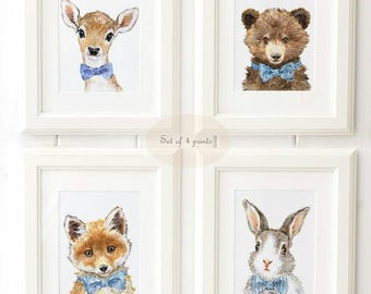 Woodland Nursery Art - Woodland animals print set of 4 - Animal Portrait Set  - Animal Art - Home Decor - Giclee - Deer , Bear , Fox, Bunny