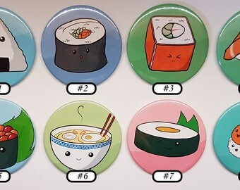 Japanese food items pinback Buttons