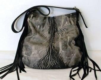 Acid Washed Black Beige Leather Bag Artisan Hair On Fringed Boho Shoulder Bag Minimalist Designed Leather Handbag
