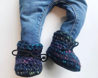 Slippers - booties, booties baby, booties crochet, slippers with sole, slippers boot, slippers crochet